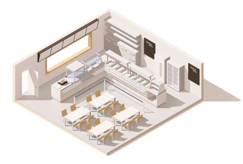 Vector isometrisch laag polyzelfbedieningsrestaurant stock illustratie