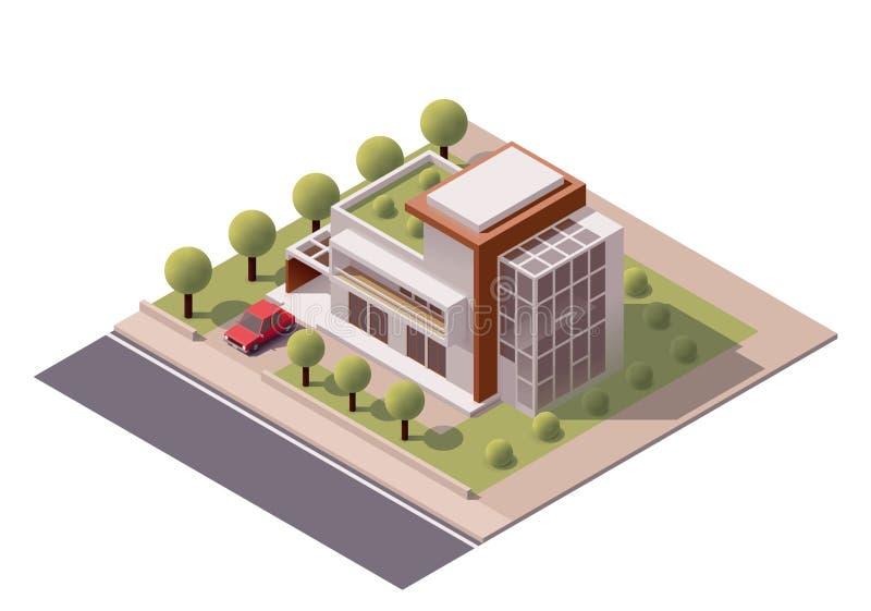 Vector isometrisch modern huis royalty-vrije illustratie
