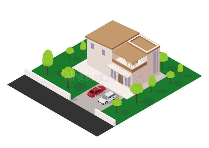Vector isometrisch modern huis stock illustratie