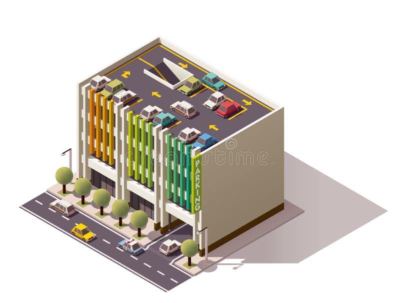 Vector isometrisch parkeerterrein royalty-vrije illustratie