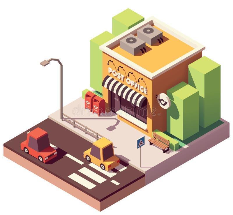 Vector isometrisch postkantoor stock illustratie