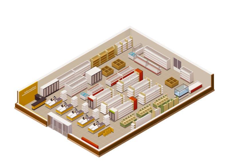 Vector isometrisch supermarktschema royalty-vrije illustratie