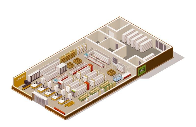 Vector isometrisch supermarktschema vector illustratie