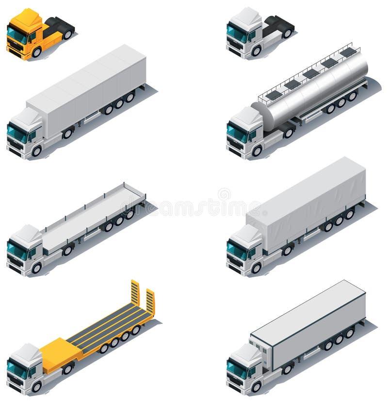 Vector isometrisch vervoer. Vrachtwagens met semi-sleep vector illustratie