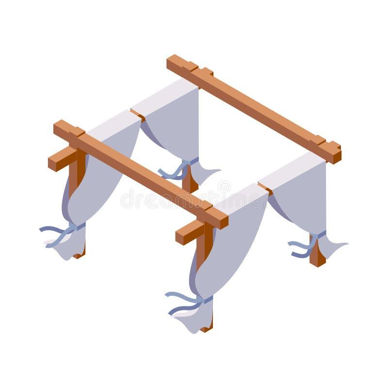 Vector isometrisch voorwerp dat op wit wordt geïsoleerd Houten huwelijksboog of tent met witte gordijnen, goed voor het verfraaie royalty-vrije illustratie