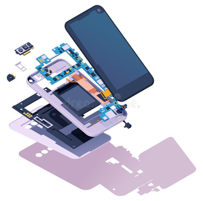 Vector isometrisch zerlegtes Smartphone stock abbildung