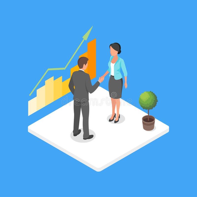 Vector isometrische 3d illustratie van twee bedrijfsmensen die dea maken vector illustratie