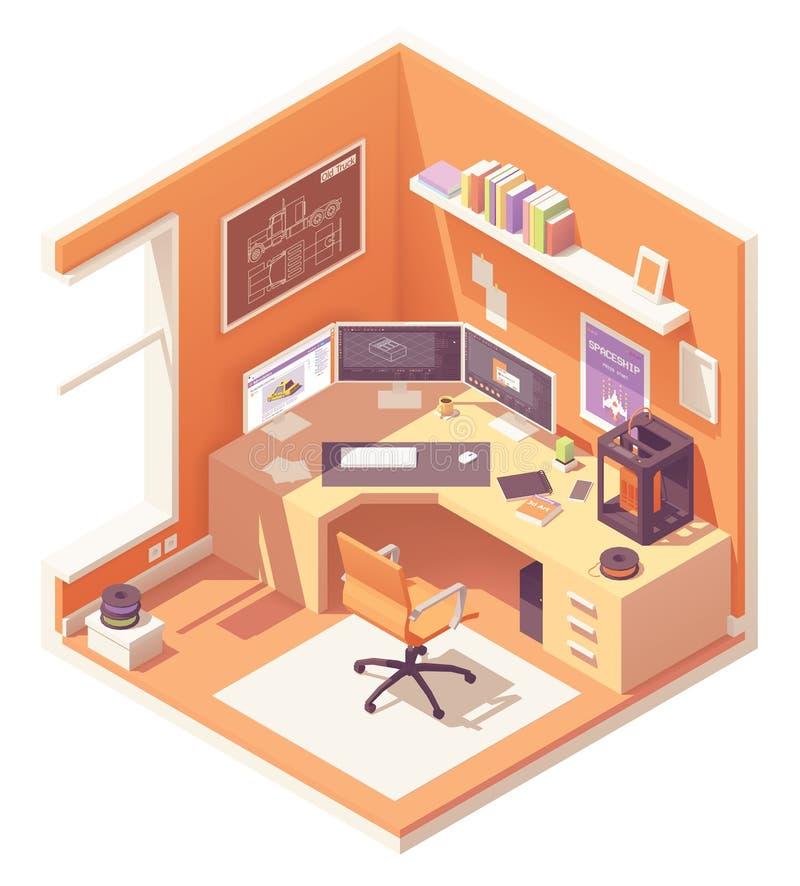 Vector isometrische 3d kunstenaarswerkplaats vector illustratie