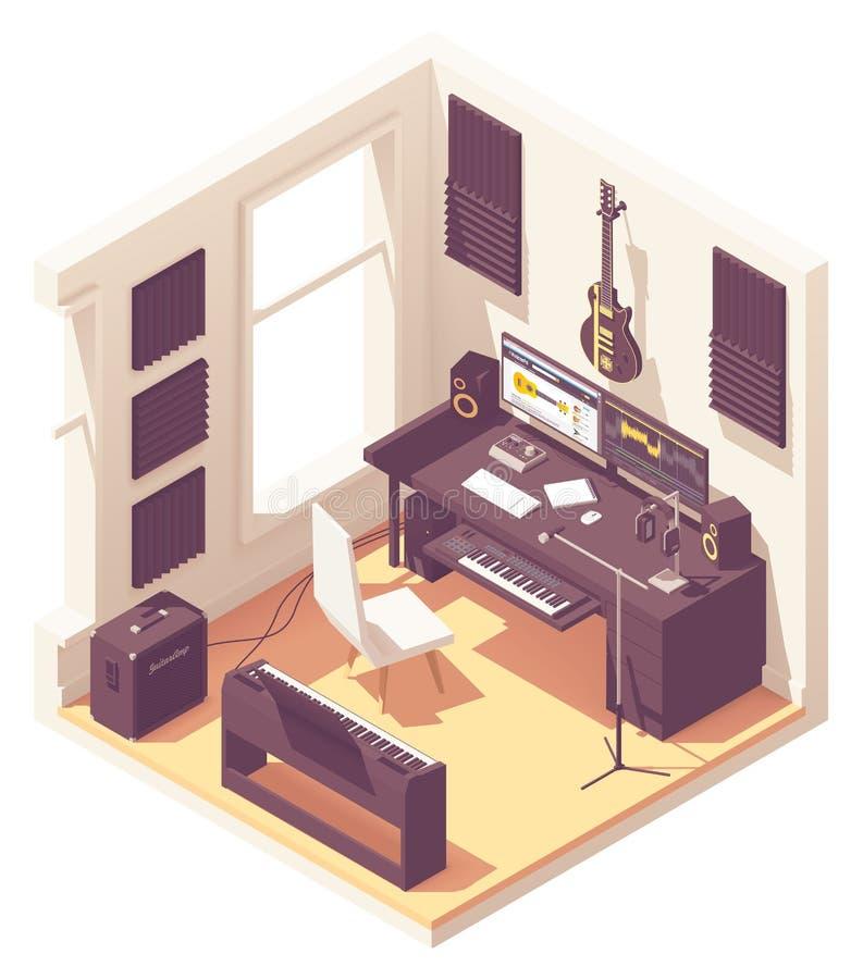 Vector isometrische de opnamestudio van de huismuziek vector illustratie