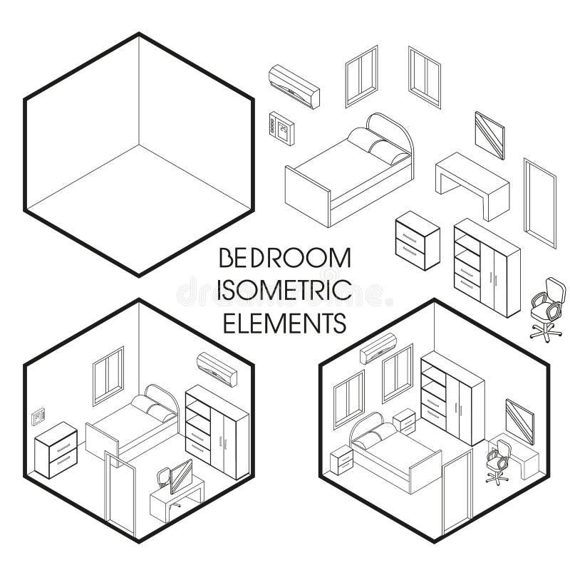 Vector isometrische dunne de lijnelementen van de slaapkamer binnenlandse schepper royalty-vrije illustratie