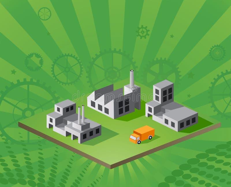 Vector isometrische fabriek royalty-vrije illustratie