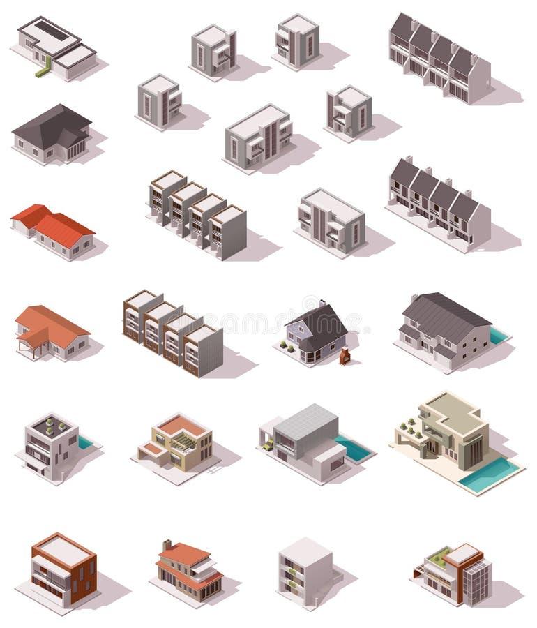 Vector isometrische geplaatste gebouwen stock illustratie