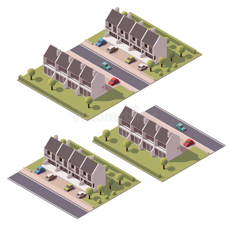 Vector isometrische geplaatste huizen in de stad stock illustratie