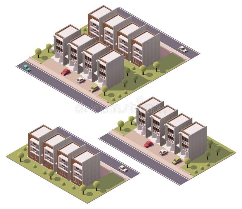 Vector isometrische geplaatste huizen in de stad vector illustratie