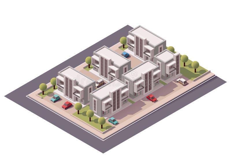 Vector isometrische geplaatste huizen in de stad royalty-vrije illustratie