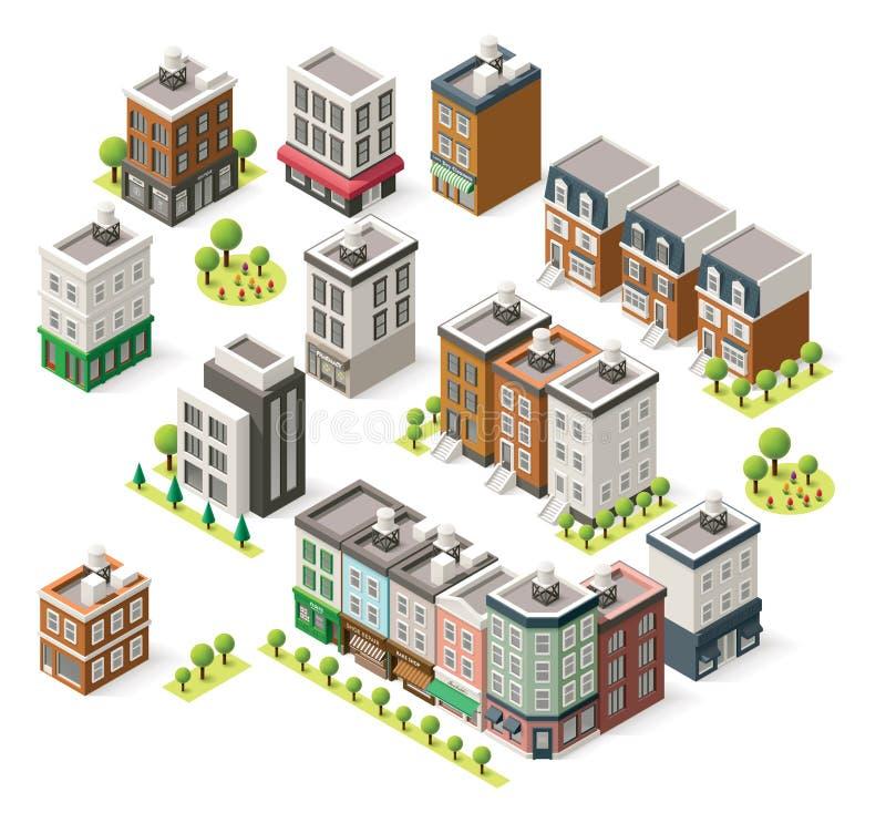 Vector isometrische geplaatste stadsgebouwen vector illustratie