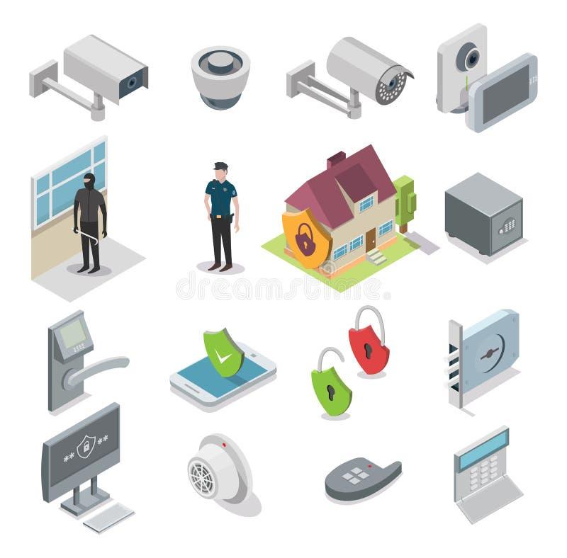 Vector isometrische het pictogramreeks van de huisveiligheid stock illustratie