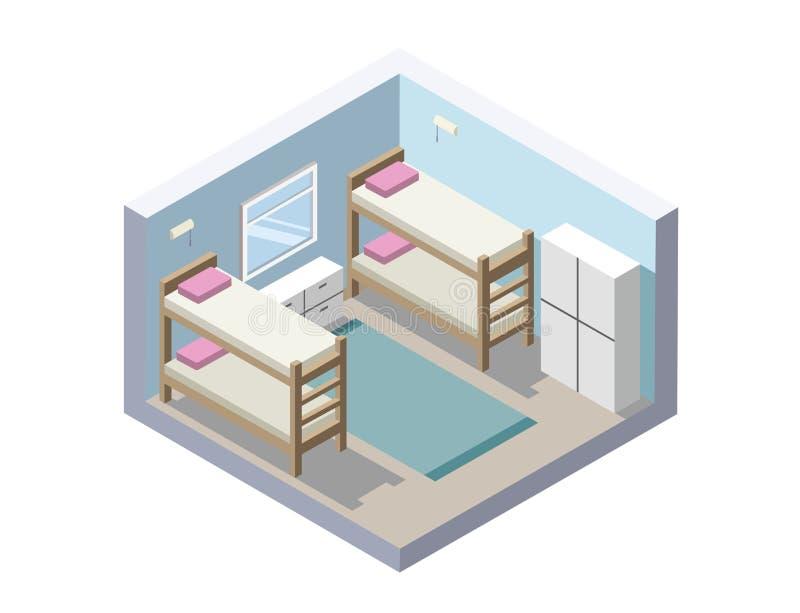 Vector Isometrische illustratie van herbergenruimte goedkoop hotelpictogram stock illustratie