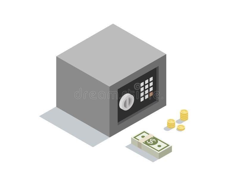 Vector isometrische illustratie van kleine geldbrandkast met de bankbiljetten van het muntstukkeneind stock illustratie