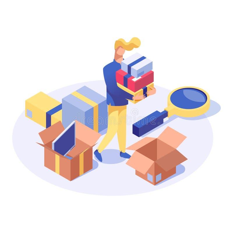 Vector isometrische illustratie van kopers de kopende producten Winkel hulp doende inventaris, klant die vakantie kiezen stock illustratie