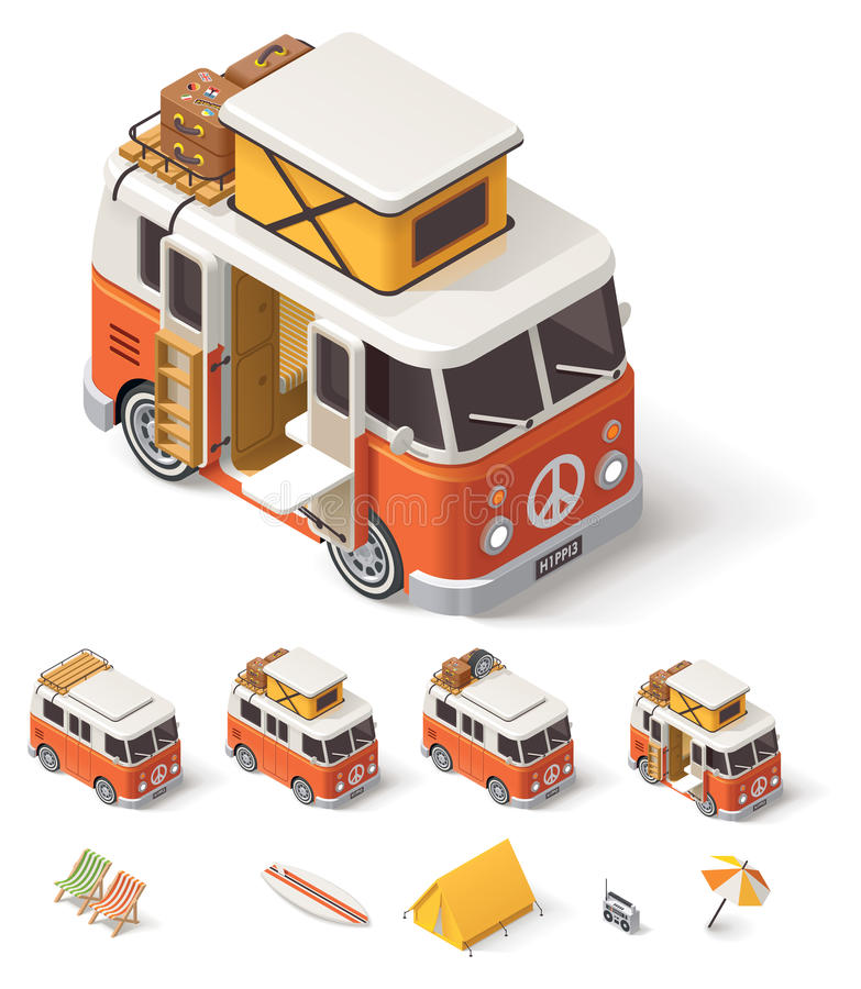 Vector isometrische kampeerautobestelwagen stock illustratie