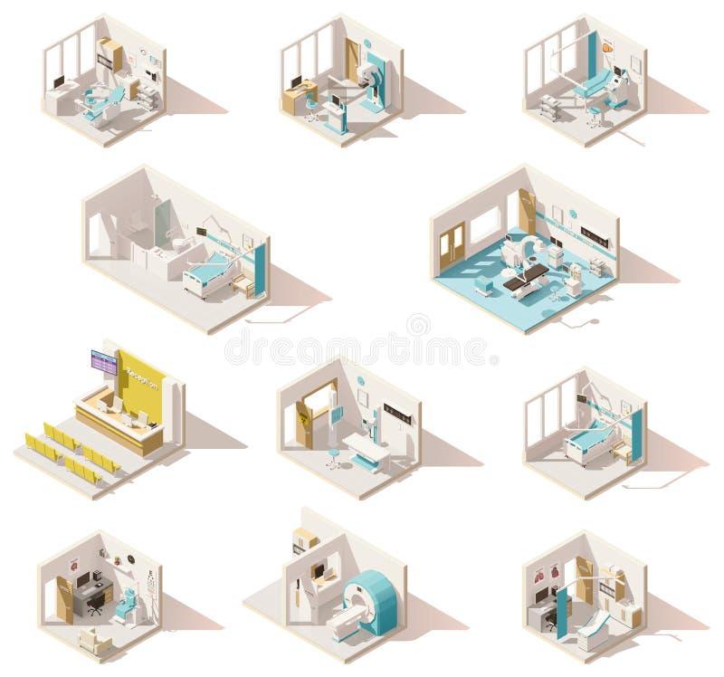 Vector isometrische lage poly het ziekenhuisruimten stock illustratie