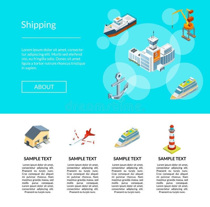 Vector isometrische mariene logistiek en het malplaatjeillustratie van de zeehaven landende pagina stock illustratie