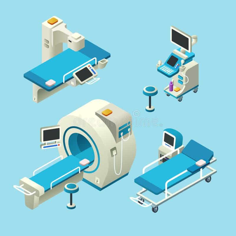 Vector isometrische medische kenmerkende materiaalreeks royalty-vrije illustratie