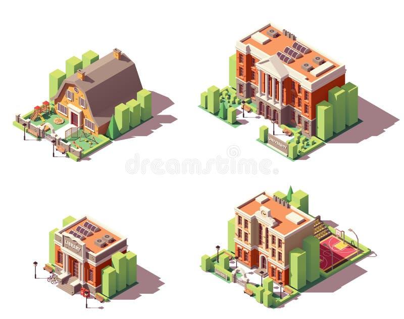 Vector isometrische onderwijs geplaatste gebouwen stock illustratie