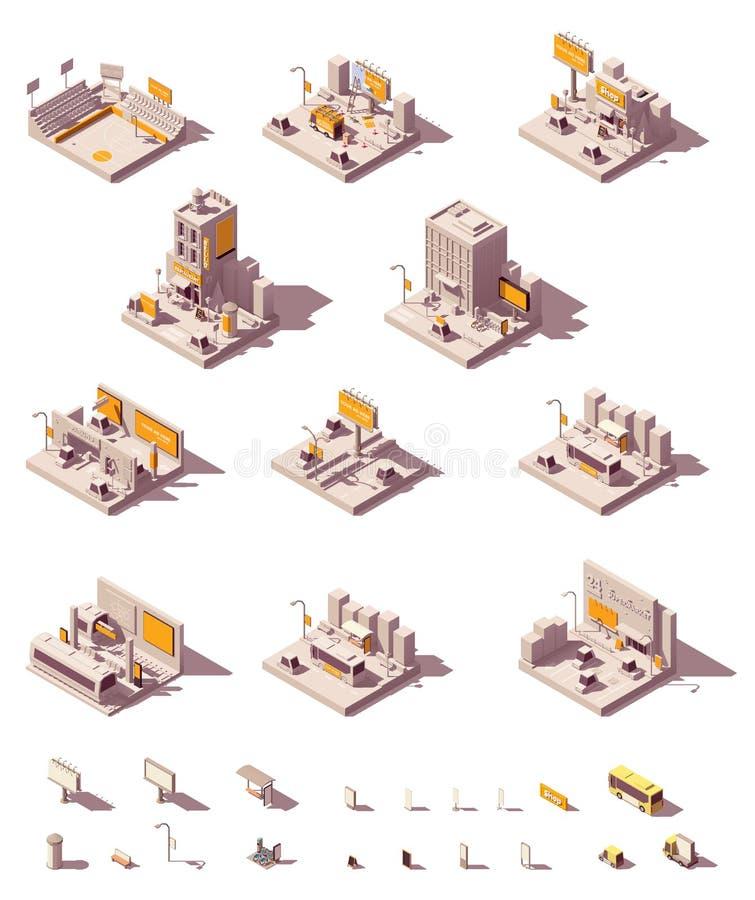 Vector isometrische openlucht reclamevoorbeelden stock illustratie