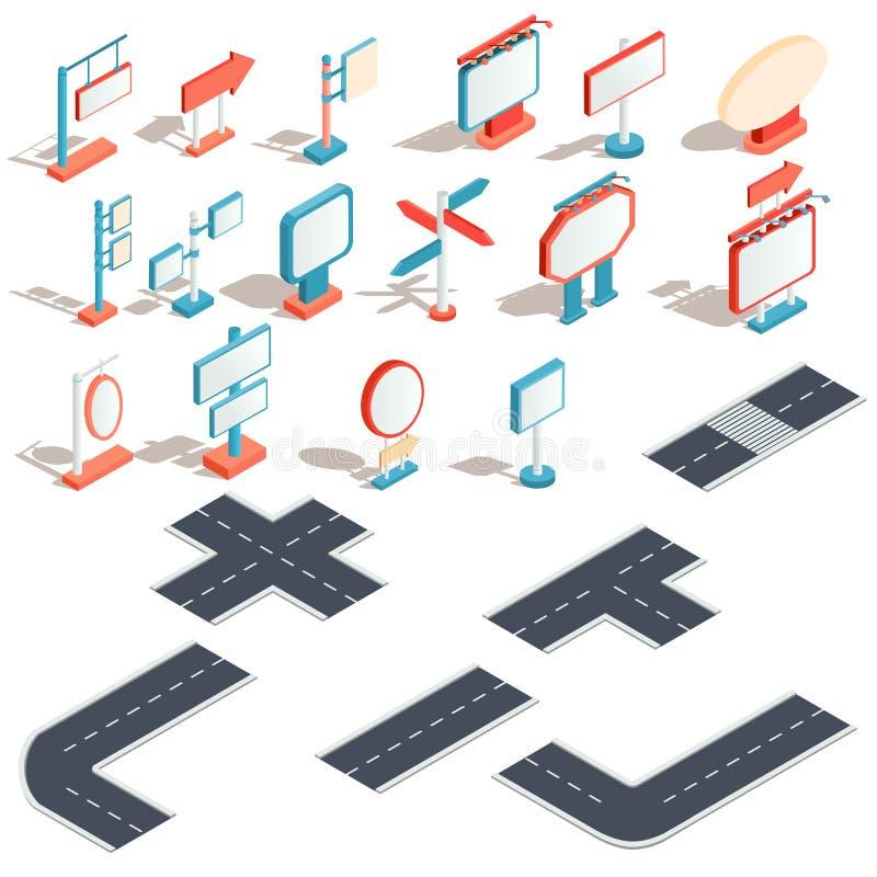 Vector isometrische pictogrammen van aanplakborden, reclamebanners, verkeersteken, richtingstekens stock illustratie