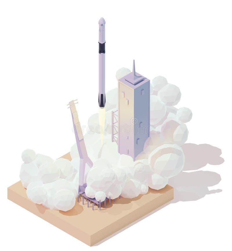 Vector isometrische Raketenstart lizenzfreie abbildung
