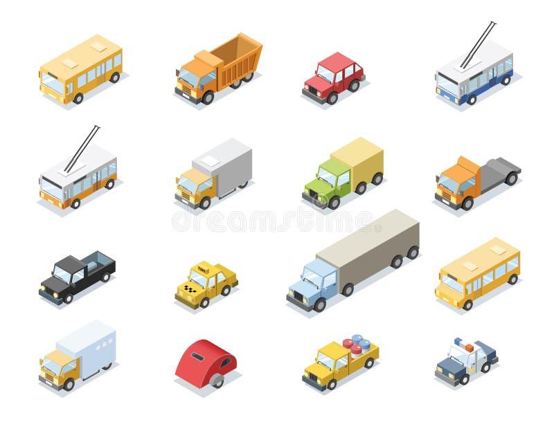 Vector isometrische reeks van stadsvervoer, autopictogrammen stock illustratie