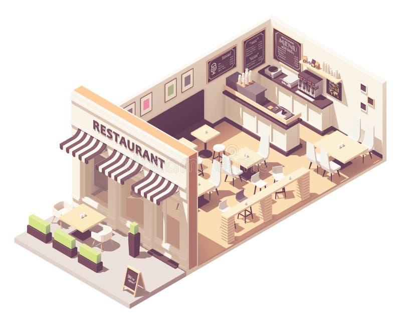 Vector isometrische restaurant binnenlandse dwarsdoorsnede vector illustratie