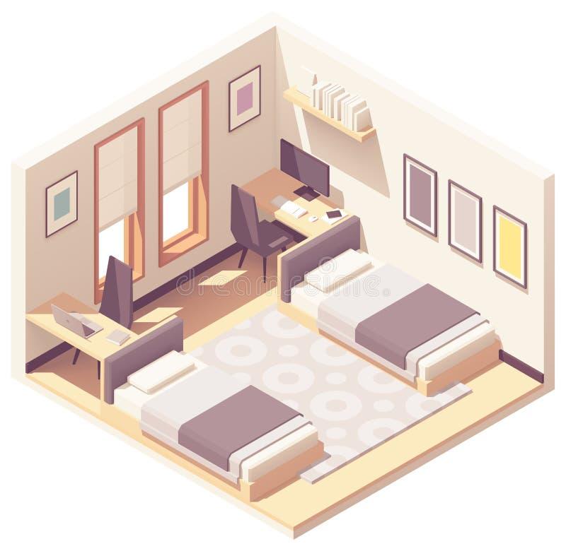 Vector isometrische slaapzaal of dorm ruimte stock illustratie
