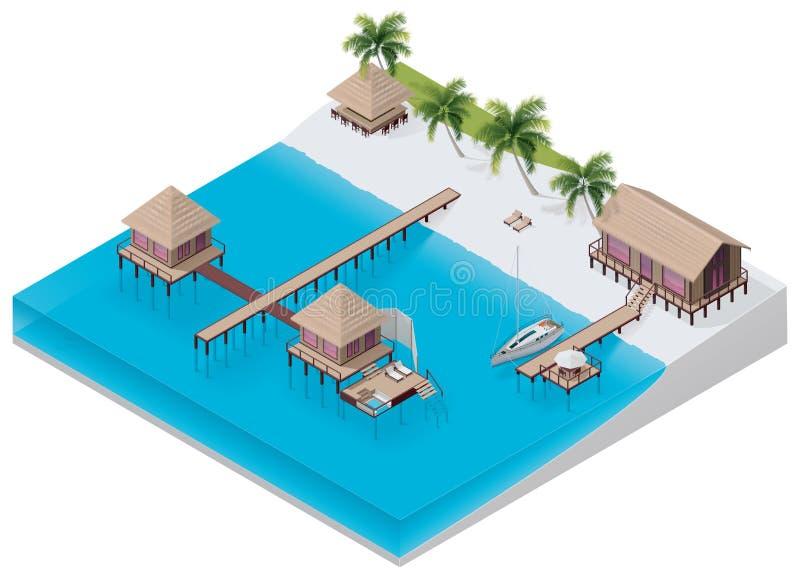 Vector isometrische tropische toevlucht royalty-vrije illustratie