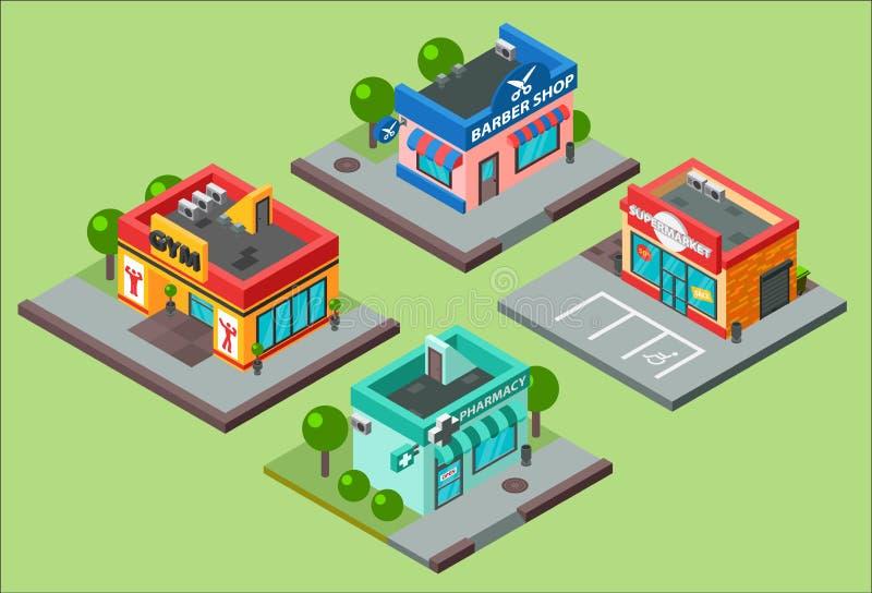 Vector isometrische van het de kioskgemak van stadsgebouwen de opslagsupermarkt Herenkapper, apotheek, schoonheidssalon, geschikt royalty-vrije illustratie