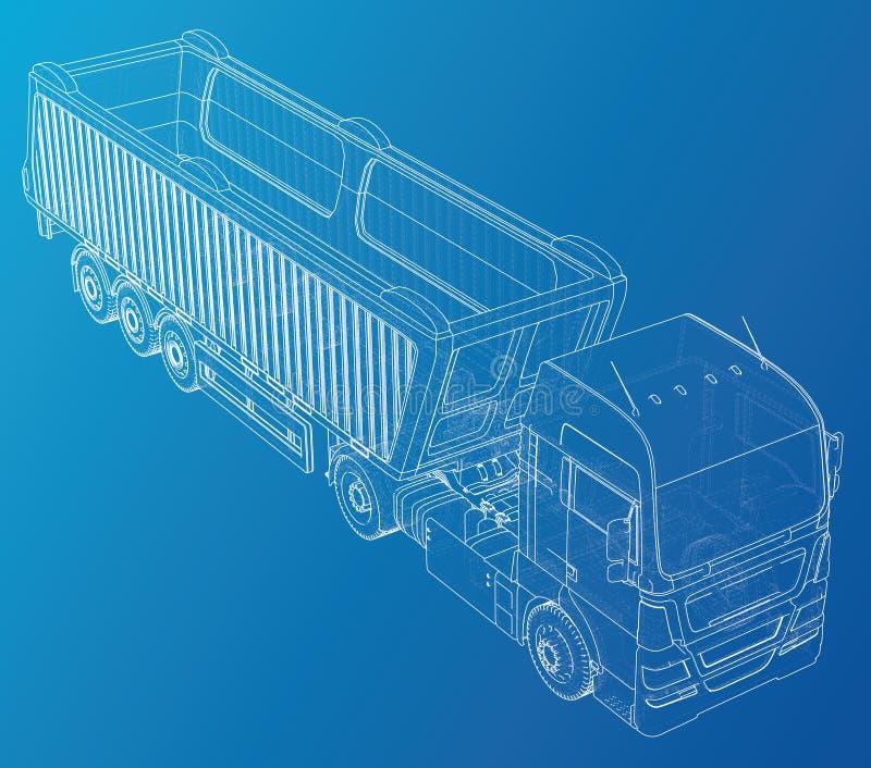 Vector Isometrische vertegenwoordigende vrachtwagen of tractor met kippersoplegger Gecreeerde illustratie van 3d Draad-kader vector illustratie