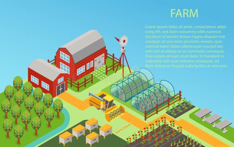 Vector isometrischen ländlichen Konzepthintergrund des Bauernhofes 3d mit Mühle, Gartenfeld, Bäume, TraktorMähdrescher, Haus lizenzfreie abbildung