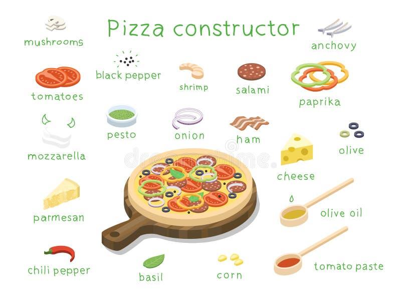 Vector isometrischen Satz Bestandteile, um kundenspezifische geschmackvolle Pizza zu errichten lizenzfreie abbildung