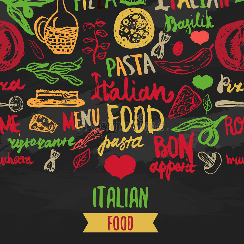 Vector Italian Menu Vector Template, with Various Groceries: Pasta, Vegetables, pizza and Mushrooms and hand drawn royalty free illustration