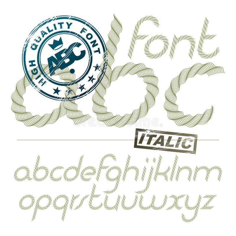 3D Italic Alphabet Font Style. Stock Vector