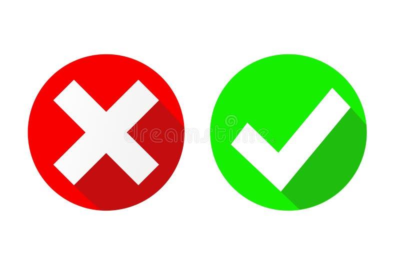Vector ja und keine Häkchen auf Kreisen, Vektor illustrat auf Lager lizenzfreie abbildung