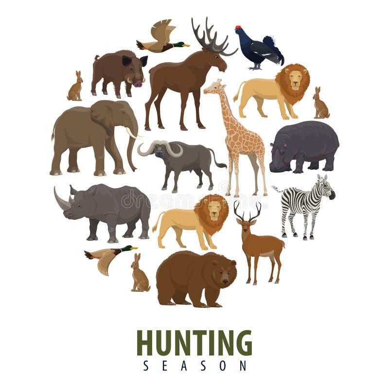 Vector jachtseizoenaffiche van wilde dieren royalty-vrije illustratie
