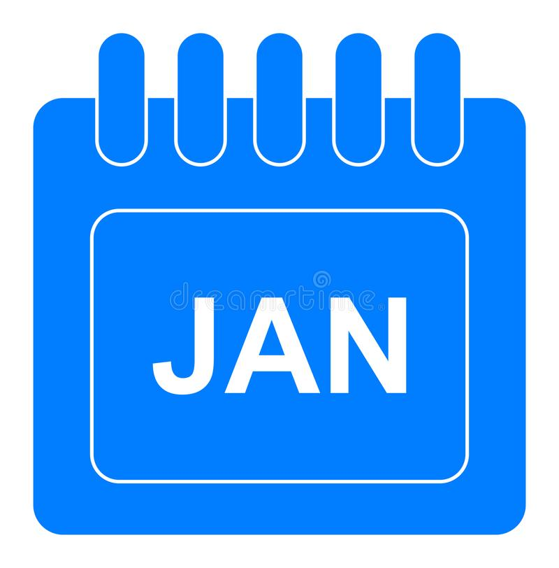 Vector january on monthly calendar blue icon vector illustration