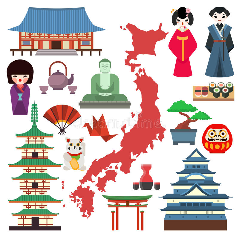 Vector Japan Culture Icons. Stock Vector - Illustration of ...