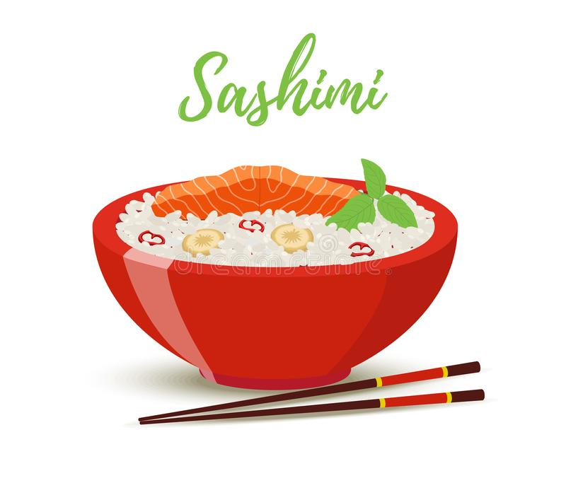 Vector Japan food - sashimi in red bowl. Salmon. Vector Japan food in cartoon style - sashimi in red bowl. Salmon fish, shiso herb with rice - meal for royalty free illustration