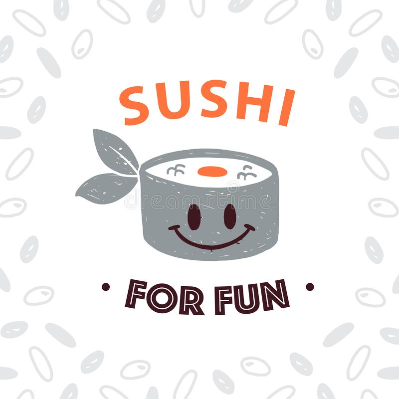 Vector Japanese food logo design template with smiling sushi icon and rice pattern isolated on white background. vector illustration
