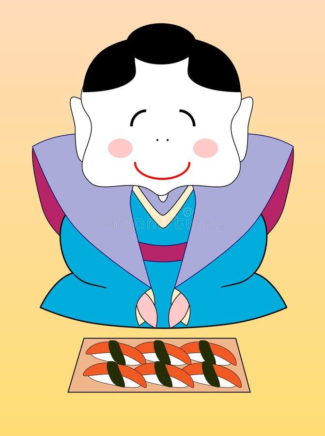 Download Vector Japanese Geisha With A Set Of Sushi Stock Vector - Illustration of girl, menu: 16512018
