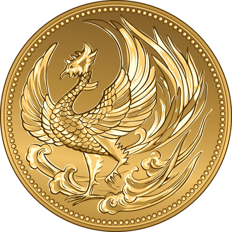 Vector Japanese money gold coin with phoenix stock images